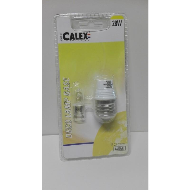 Deco Globe Base E27 met spaar Halogeen lamp 240V 28 Watt  G9